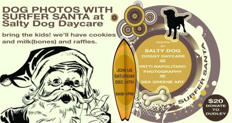 Ad for Surfing Santa Photo Day at Salty Dog